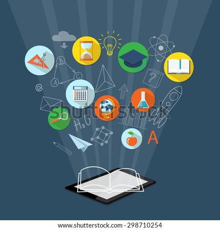 Flat design vector illustration concept for  higher school, university, e-learning, e-book, business  studying, training, webinar with tablet,  clock,  calculator, academic cap, book, globe - eps 10 - stock vector