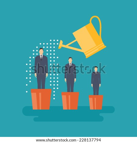 Flat design vector illustration concept for human resources management, helping employees to grow, work of hr, professional growth, career achievements isolated on bright background - stock vector