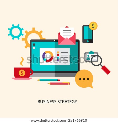 Flat design vector illustration concept for management, strategy, digital marketing, start up with icons set of modern business working elements, finance objects. Isolated vector illustration. - stock vector