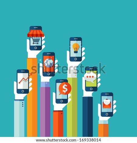 Flat design vector illustration concept for mobile apps - stock vector