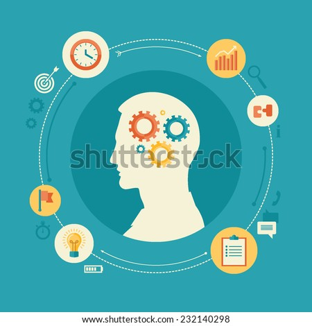 Flat design vector illustration concept for productivity, efficiency, intelligence, intellectual work, creativity, timing, time management, work schedule, reaching goals isolated on bright background - stock vector