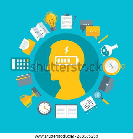 Flat design vector illustration concept for productivity, performance, power of mind, wasting energy, getting tired at work, time management isolated on bright background - stock vector