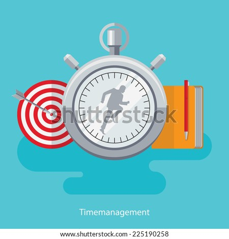 Flat design vector illustration concept for productivity, timing, time management, work schedule, reaching goals isolated on bright background  - stock vector