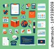 Flat design vector illustration concept icons set of business working elements for web design, e-commerce, mobile app, digital marketing, programming, seo, office, communication, finance. - stock vector