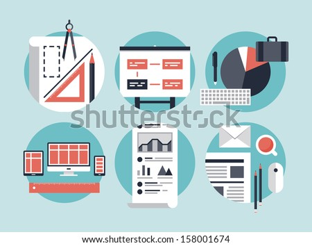 Flat design vector illustration concept icons set of modern business organization management for planning and development innovation of computer technologies. Isolated on stylish color background. - stock vector