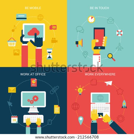 Flat design vector illustration concept icons set of modern mobile internet pc process work flow. New trend tablet, smartphone, laptop, online shopping, social media. Big flat collection. - stock vector
