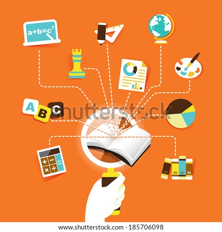 flat design vector illustration concept of book discovery - stock vector