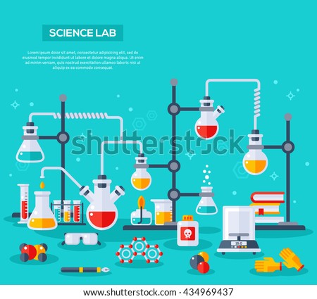 Flat design vector illustration concept of chemistry experiment. Chemist laboratory workspace. Chemical reactions research - stock vector