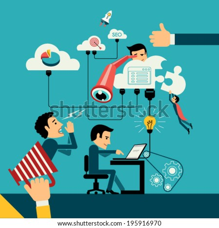 Flat design vector illustration concept of computer and connected mobile devices with links of transmission information and cloud computing.  - stock vector