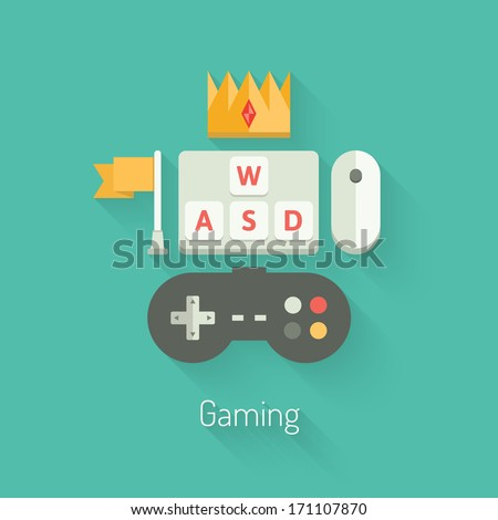 Flat design vector illustration concept of four keys on a computer keyboard using to control the player character movement in computer games. Isolated on stylish colored background. - stock vector
