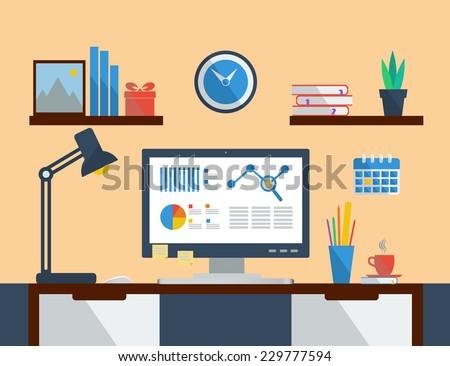 Flat design vector illustration concept of modern home or business workspace. - stock vector