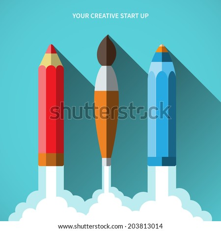 Flat design vector illustration concept of new creative business project startup and launch new innovation product on market. - stock vector