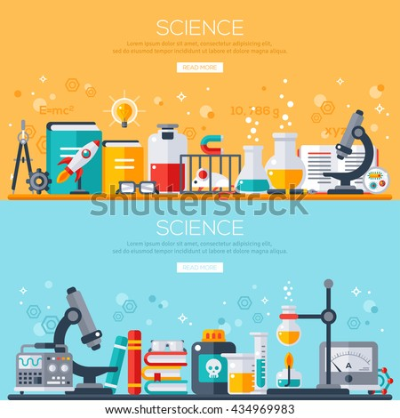 Flat design vector illustration concept of science. Horizontal banners set with scientist workplaces. Scientific Research, Chemical Experiment. - stock vector