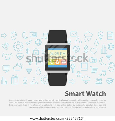 Flat design vector illustration concept of  smart watch gadget. Modern background with new technology electronic device with apps icons  - stock vector