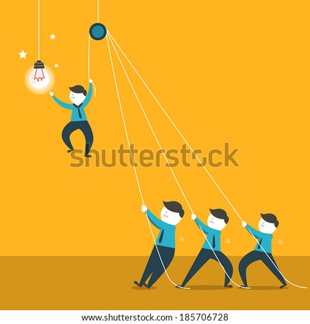 flat design vector illustration concept of team work - stock vector