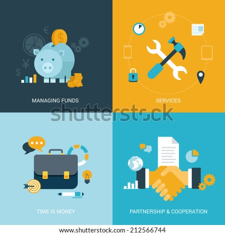 Flat design vector illustration concept process icons set of money finance services time saving partnership cooperation contract. Big flat processes collection. - stock vector