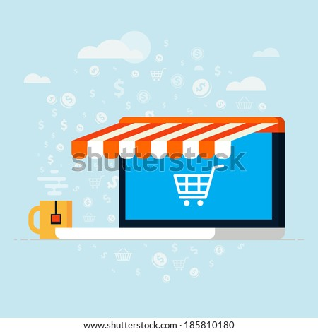 Flat design vector illustration concept with awning of buying products via on line shop, store, e-commerce ideas, e-commerce symbols, sale, internet shopping elements. Isolated on stylish background. - stock vector
