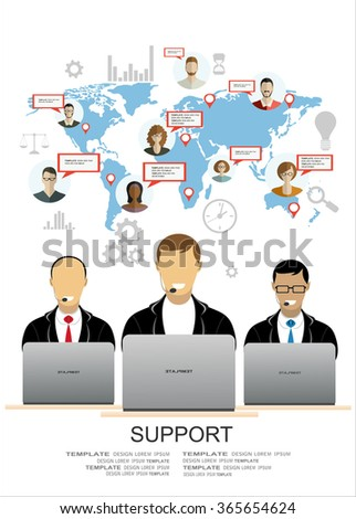 Flat design vector illustration concepts for analytics search information, mobile marketing, market research and client support. - stock vector