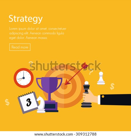 Flat design vector illustration concepts for data analysis, strategy planning and successful business - stock vector