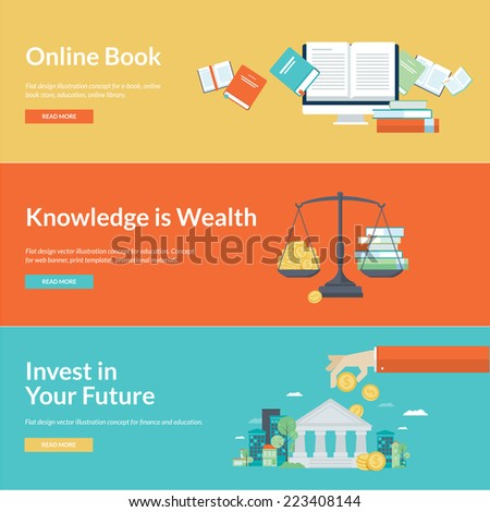 Flat design vector illustration concepts for online book, online library, online book store, finance, education credits, education savings. Concepts for web banners and promotional materials.  - stock vector