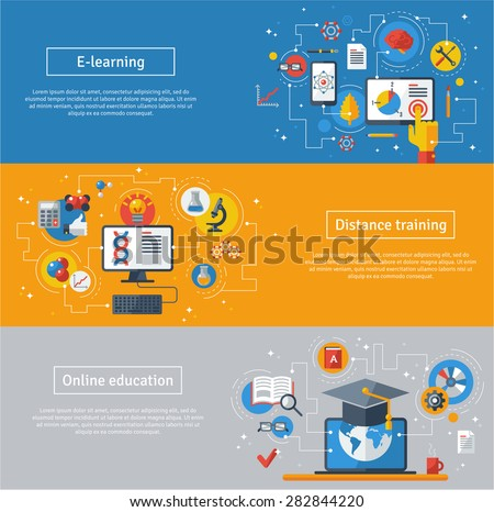 Flat design vector illustration concepts of education and online learning. Online training courses, distance training, e-learning. Web banners with laptop, computer, phone, book, graduation hat. - stock vector