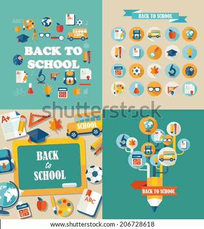 Flat design vector illustration concepts of education. Concepts for web banners and printed materials. Abstract tree with pencil icons of education and science. Vector Illustration, eps10.  - stock vector