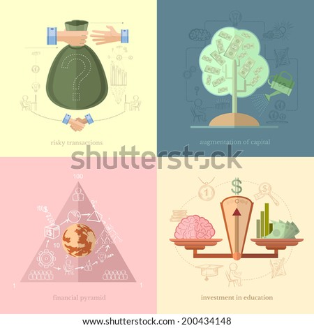 Flat design vector illustration concepts of finance and business, icons for finance and business risky transactions financial pyramid investment in education augmentation of capital - stock vector