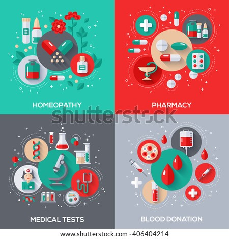 Flat Design Vector Illustration Concepts of Healthcare and Medicine. Herbal Treatment, Homeopathy. Pharmacy, Drugs and Pills. Medical Tests. Blood Donation.  - stock vector