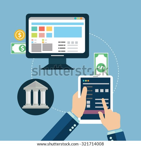 Flat design vector illustration concepts of online payment methods. Icons for online payment getaway, mobile payments, electronic funds transfers and bank wire transfer. - stock vector