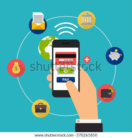 Flat design vector illustration concepts of online payment methods. Internet banking, purchasing and transaction, electronic funds transfers. - stock vector