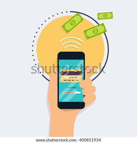 Flat design vector illustration concepts of online payment methods. Internet banking, purchasing and transaction, electronic funds transfers and bank wire. - stock vector
