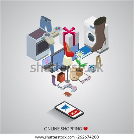 flat design vector illustration concepts of online shopping - stock vector