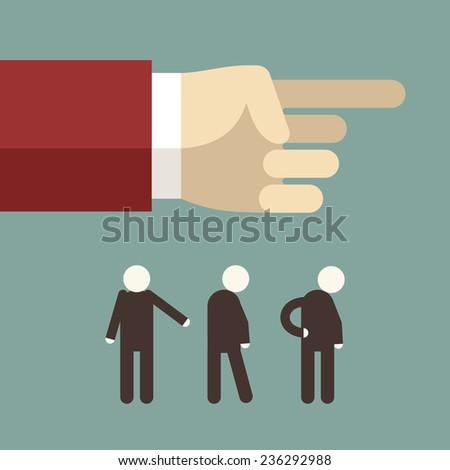 Flat design vector illustration. Hand pointing and showing directions for businessmans - stock vector