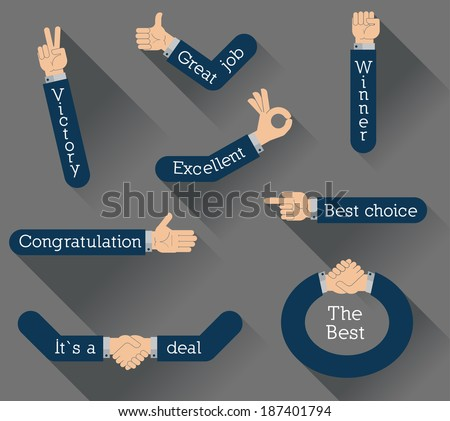 Flat design vector illustration hands isolated on background.  - stock vector
