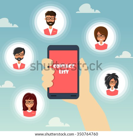 Flat design vector illustration. Human hand with mobile phone and people icons. Communications concept  - stock vector