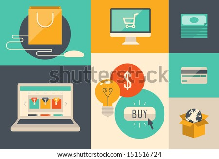 Flat design vector illustration icons of e-commerce symbols, internet shopping elements and objects in retro stylish color. Isolated on colored background - stock vector