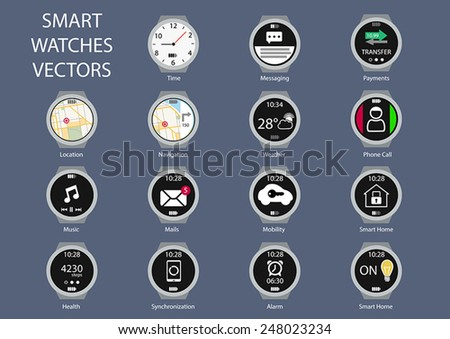 Flat design vector illustration icons of smart watch clock faces. Various isolated icons showing functionality of smart watches like navigation, phone calls, smart home, messaging and mail. - stock vector
