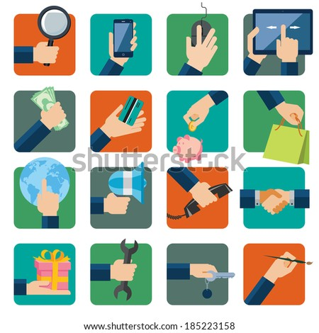 Flat design vector illustration icons set for business, web and mobile phone services. Hands with shopping and business elements isolated on colored background. - stock vector