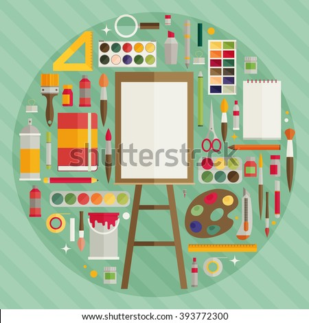 flat design vector illustration icons set of art supplies, art instruments for painting, drawing, sketching - stock vector