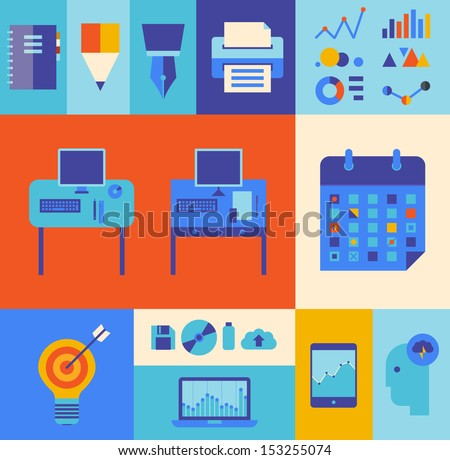 Flat design vector illustration icons set of modern office workflow and business process with some infographic elements and technology icons.  Isolated on stylish colored background - stock vector
