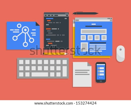 Flat design vector illustration icons set of modern office workflow for web programming and mobile development process in stylish colors. Isolated on red background - stock vector