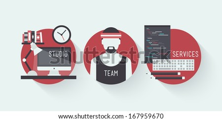 Flat design vector illustration icons set of modern web studio workplace, designer team concept and web page programming and coding with workflow objects. Isolated on stylish colored background - stock vector