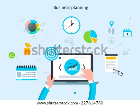 Flat design vector illustration infographic concept with icons set of modern business working elements, market research, finance paperwork objects and financial planning. - stock vector