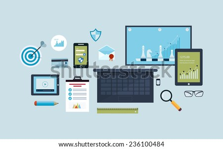 Flat design vector illustration infographic concept with icons set of modern business working elements, business consulting, teamwork, electronic devices and business planning. - stock vector