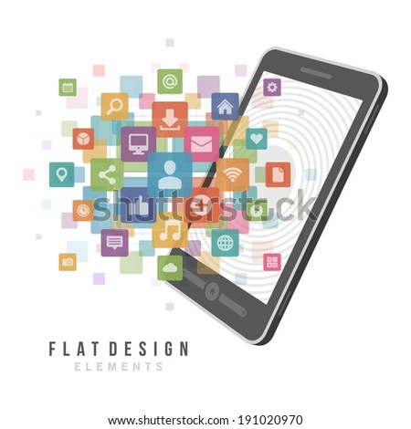 Flat design vector illustration infographic design elements concept. Business and social media design and mobile phone. Design template. - stock vector