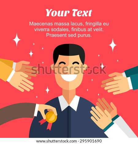Flat Design Vector Illustration of Awarding Ceremony - stock vector