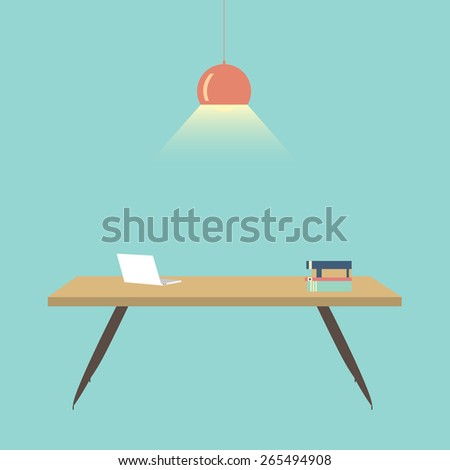 Flat design vector illustration of Computer desk, workplace - stock vector