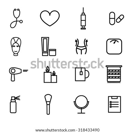 Flat design vector illustration of decorative and aesthetic medicine, spa. - stock vector