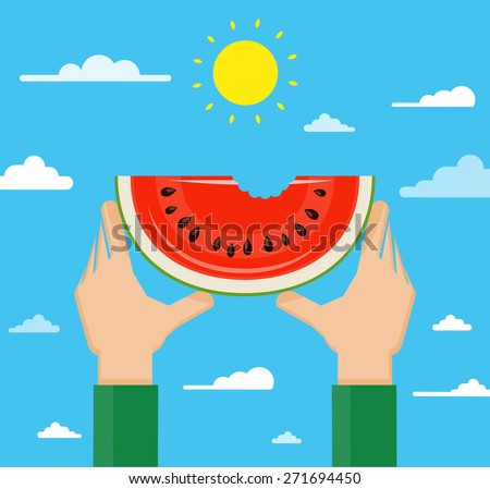 Flat design vector illustration of hands holding watermelon high against the sky - stock vector