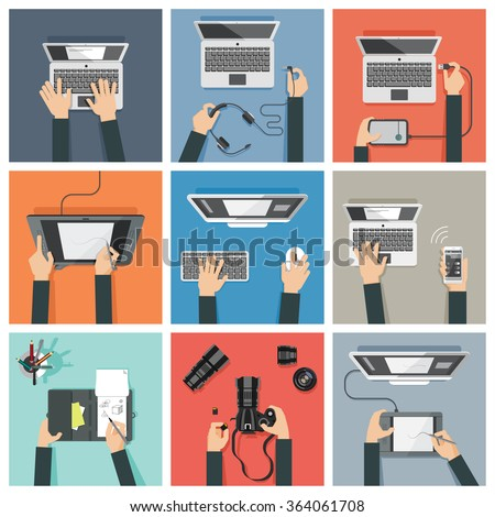Flat design vector illustration of hands using various digital  high- tech devices